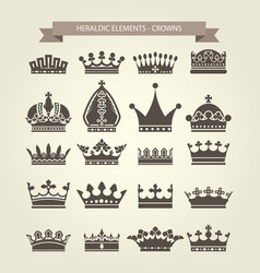 heraldic symbols - royal crowns icon set vector image