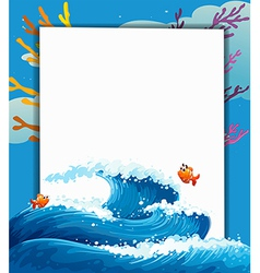 An empty signboard in the middle of the sea vector image