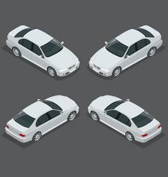 black sedan car flat isometric high quality city vector image