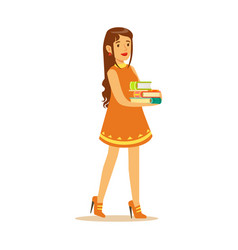 student girl with long hair wearing in a dress vector image
