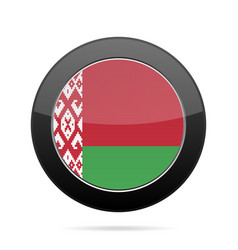 Flag of belarus shiny black round button vector