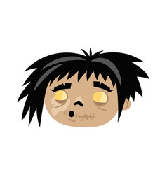 funny zombie icon in cartoon style vector image