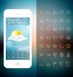 Mobile weather application screen with icon set vector