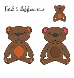 Find differences kids layout for game bear vector