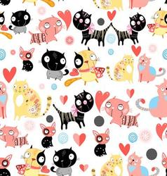 Seamless graphic pattern of cat lovers vector