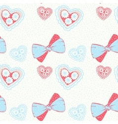 Seamless pattern with hand drawn bows and hearts vector image