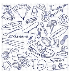 Extreme doodle set vector