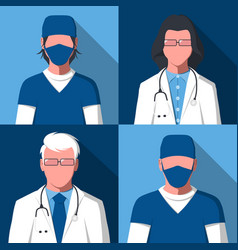 avatars of male and female silhouettes of doctors vector image