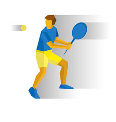 Big tennis player with racket isolated on white vector