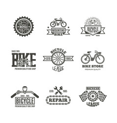 Bike shop bicycle biking vintage labels vector