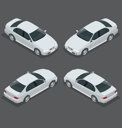 black sedan car flat isometric high quality city vector image