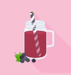 Blackcurrant smoothie in mason jar vector