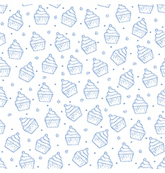Cake pattern blue icons vector