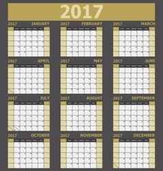 Calendar 2017 week starts on Sunday yellow tone vector image vector image