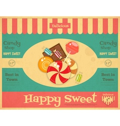 Candy Shop Retro Poster vector image