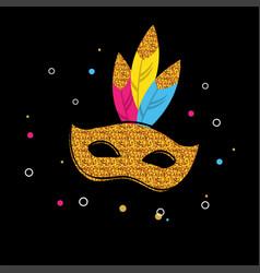 Carnival poster with glitter mask festival vector