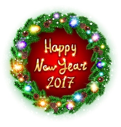 Christmas happy new year 2017 green wreath vector image