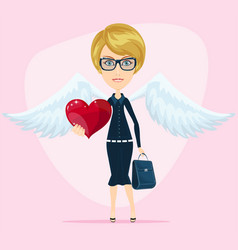cute angel valentine greeting card vector image vector image