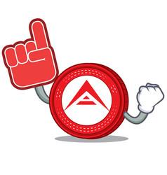 Foam finger ark coin mascot cartoon vector