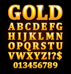 gold letters isolated on black background vector image vector image