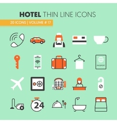 Hotel accomodation thin line icons set vector