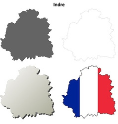 Indre centre outline map set vector