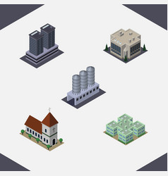 isometric urban set of clinic company chapel and vector image