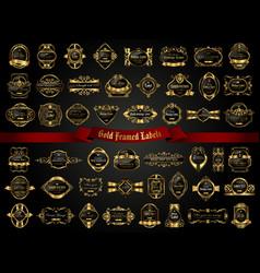 Large collection of dark gold-framed labels vector