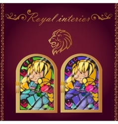 Lion head and mosaic picture in a gold frame vector
