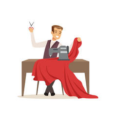 Male dressmaker with a sewing machine clothing vector