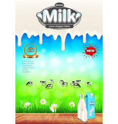 milk ads green field and cows background vector image vector image