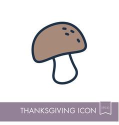 mushroom icon harvest thanksgiving vector image