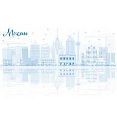 Outline macau skyline with blue buildings and vector
