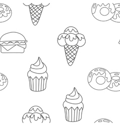 Pattern ice cream cupcake donut background of vector