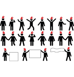 People pictograms with Christmas hats vector image vector image