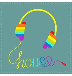 Rainbow headphones with cord word hous blue vector