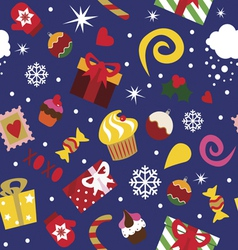 Seamless print christmas elements vector