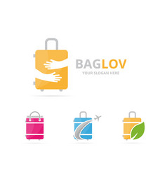 set of bag logo combination baggage and embrace vector image vector image