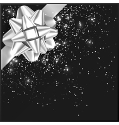 Silver grey Christmas Bow with confetti on gift vector image