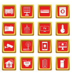 Smart home house icons set red vector