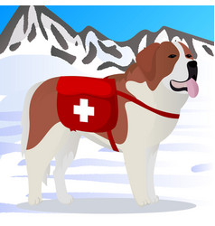 St bernard dog lifesaver in mountains vector