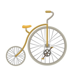 vintage bicycle the first bicycle huge and small vector image vector image