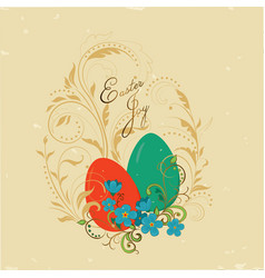 Vintage card easter joy vector