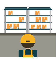 Warehouse with boxes for shipping and logistic vector