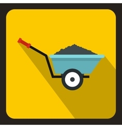 Wheelbarrow with ground icon flat style vector