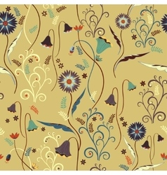 Wildflowers pattern with decorative elements vector image vector image