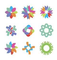 Colored flower icons vector