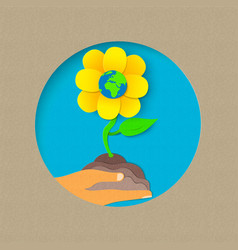 Earth day paper cut flower nature concept vector