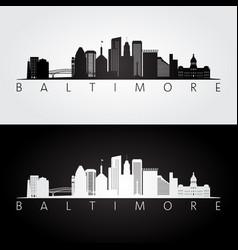 baltimore usa skyline and landmarks silhouette vector image