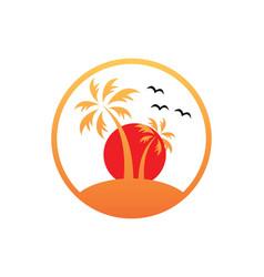 Sunset palm tree beach tropic logo vector